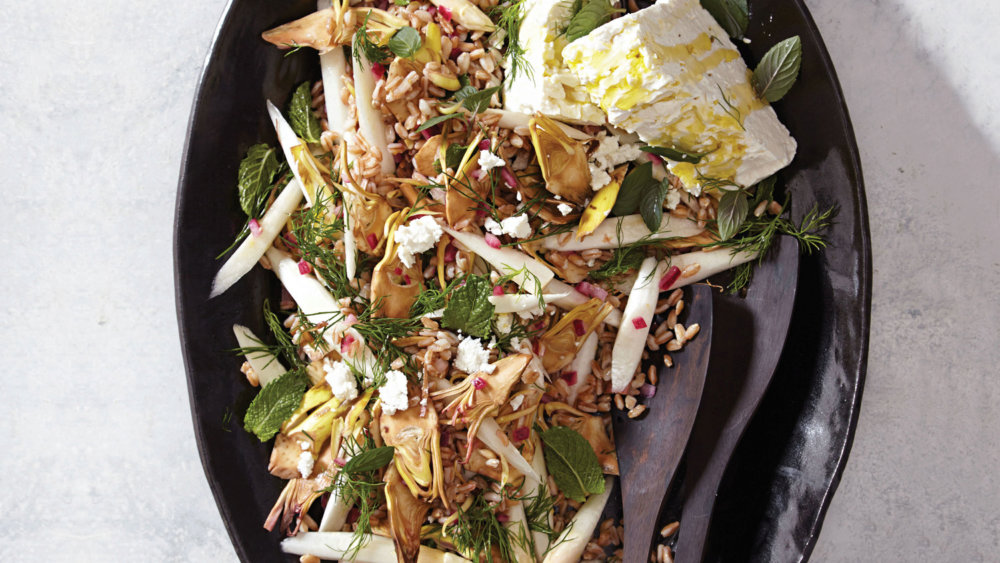 Raw Artichoke and White-Asparagus Farro Salad