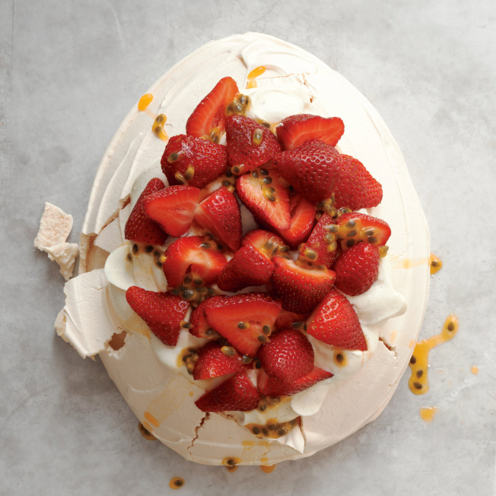 Strawberry-Passion Fruit Pavlova