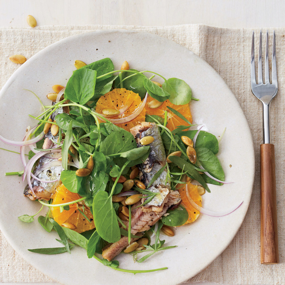 Watercress with Sardines, Tarragon, and Clementines