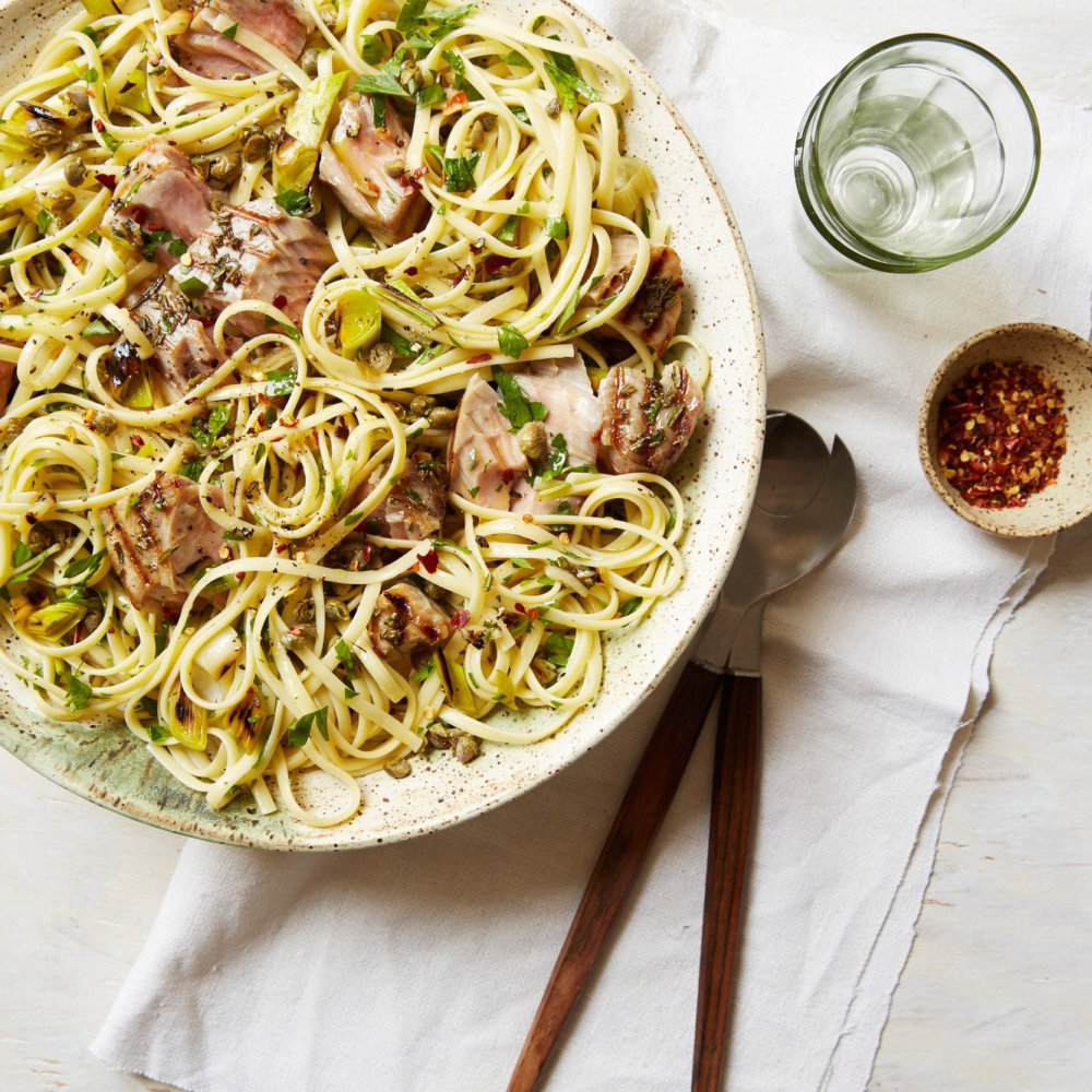 Linguine with Grilled Tuna, Capers and Parsley
