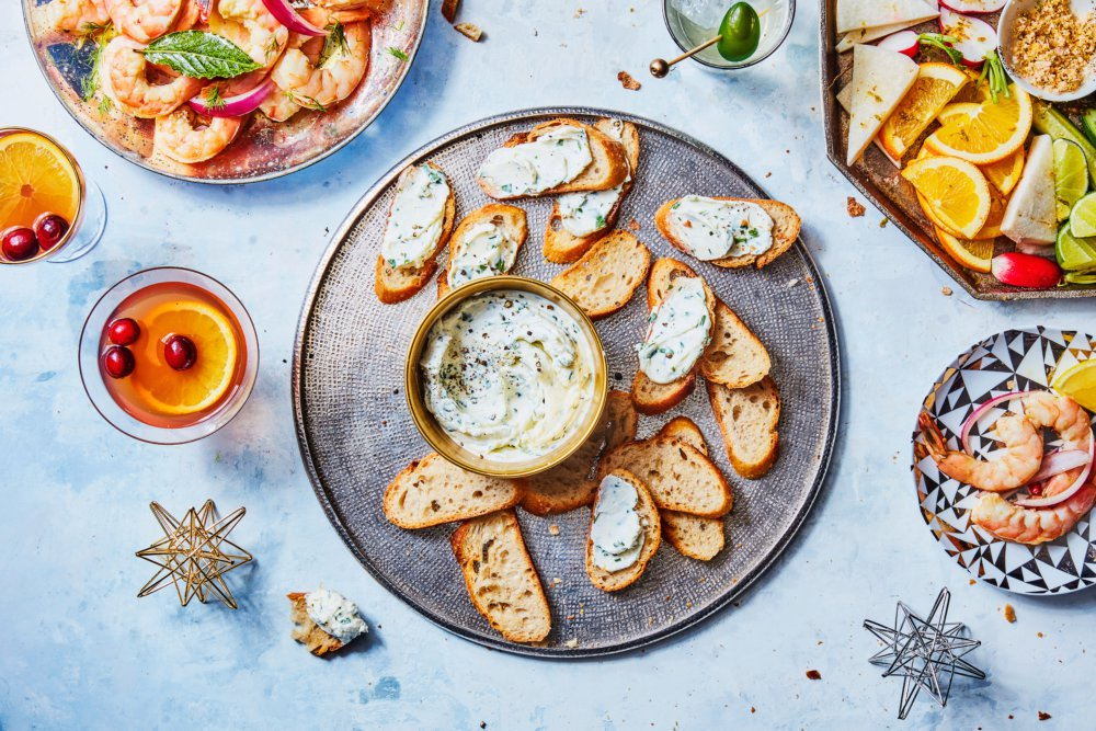Homemade Cheese Spread with Garlic and Herbs