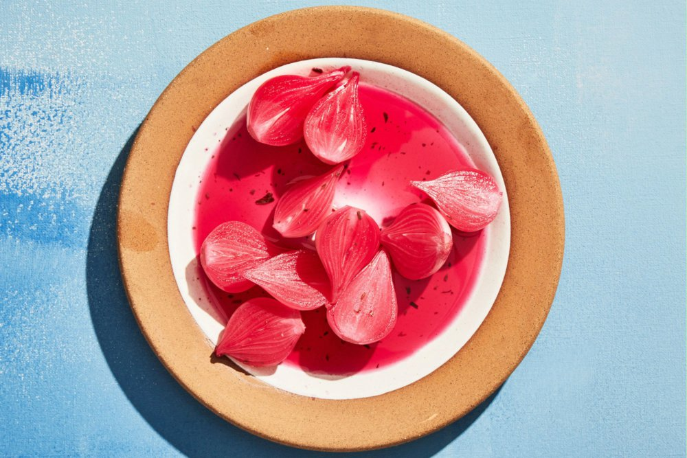 Hot-Pink Pearl Onion Pickles