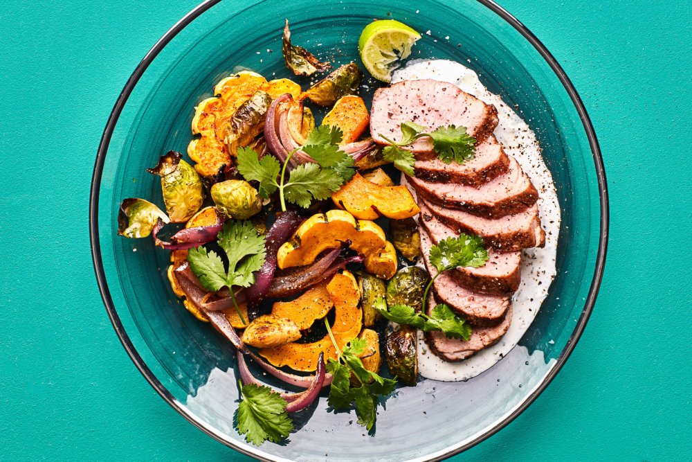 Ancho Chile Pork Tenderloin with Brussels Sprouts and Squash