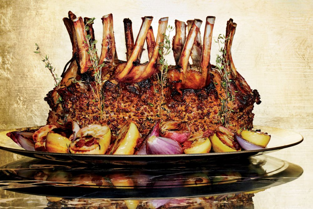 Crown Roast of Pork with Lady Apples and Shallots