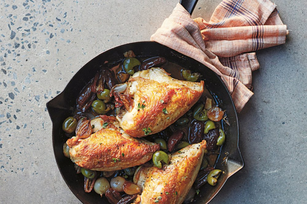 Pan-Roasted Chicken with Shallots and Dates