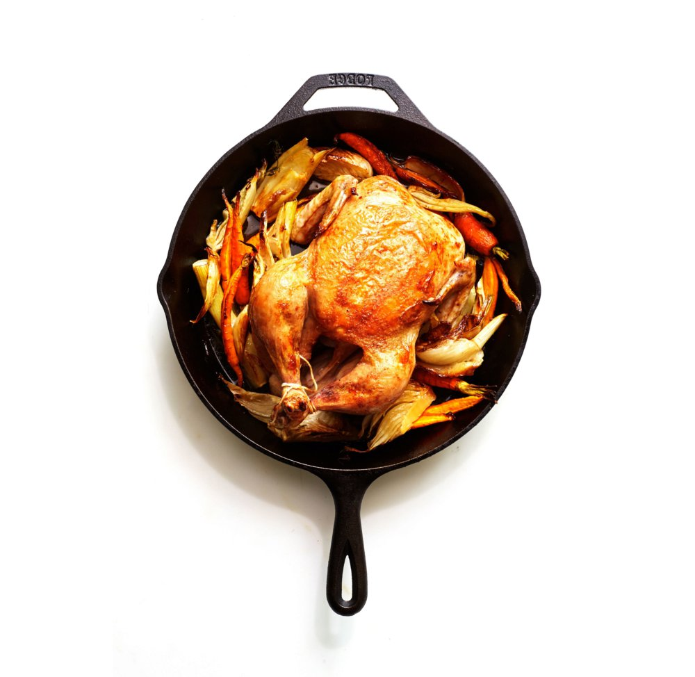 Cast-Iron Roast Chicken with Fennel and Carrots