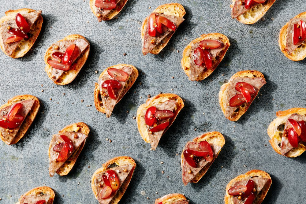 Country Pâté Toasts With Pickled Grapes