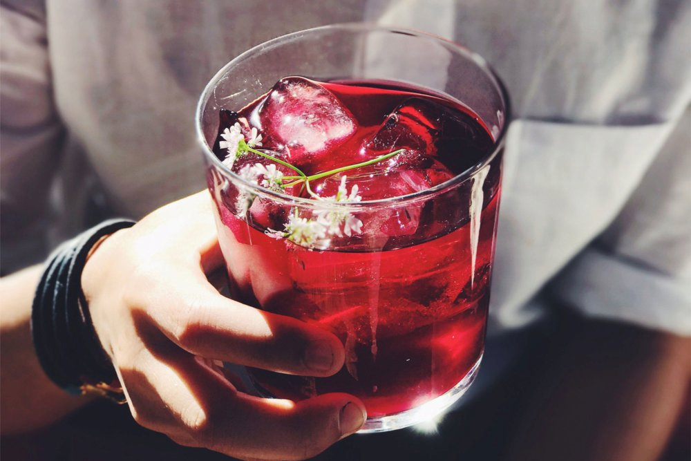 Mezcal Cocktail with Hibiscus and Cilantro