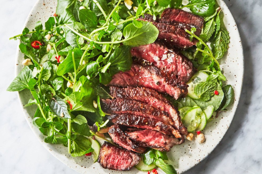 Steak with Watercress Salad and Chile-Lime Dressing