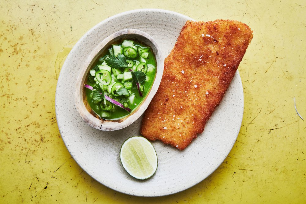 Fish Milanese with Cucumber Ceviche