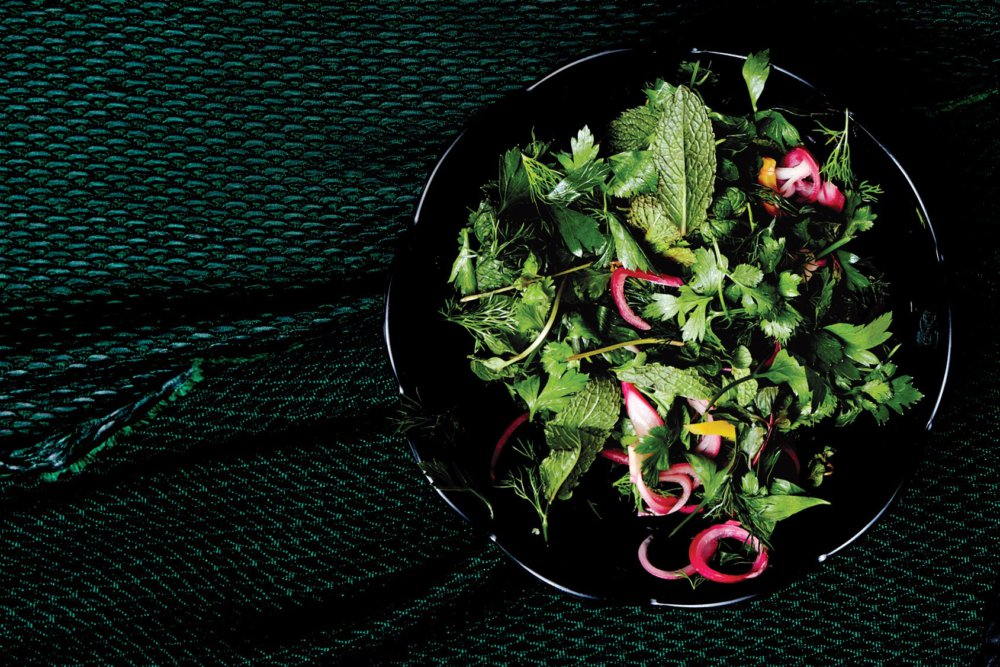 Herb Salad with Pickled Red Onion and Preserved Lemon