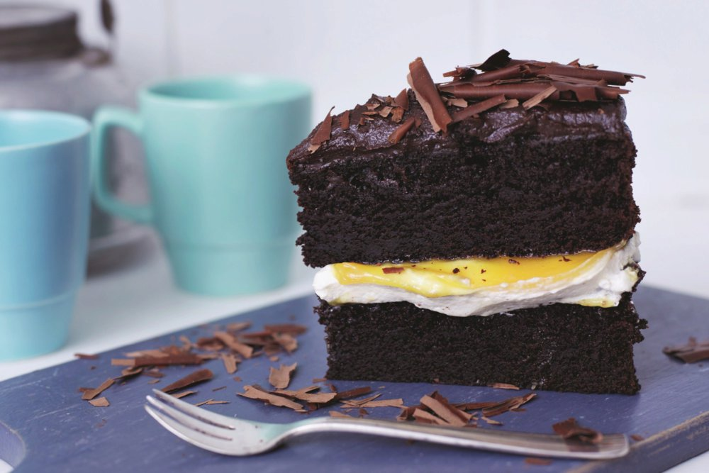 Chocolate and Passionfruit Layer Cake