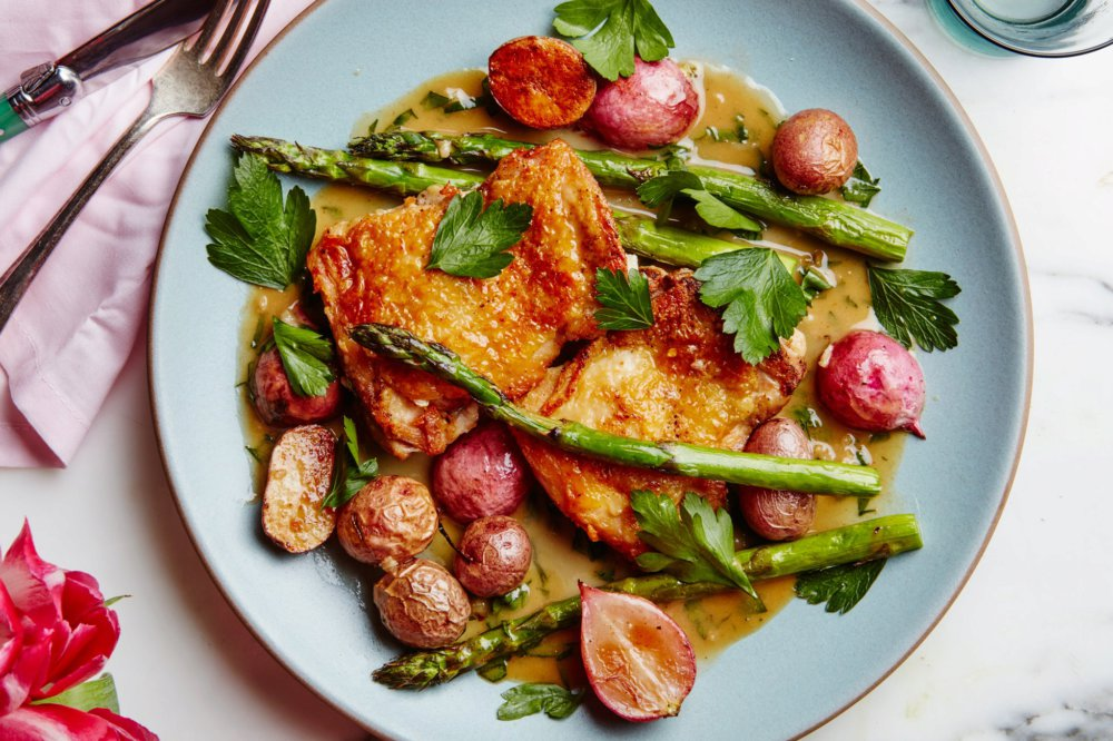 Crispy Chicken Thighs with Spring Vegetables