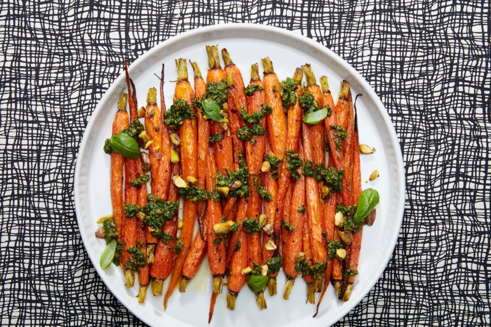 3-Ingredient Roasted Carrots with Pistachio Pesto