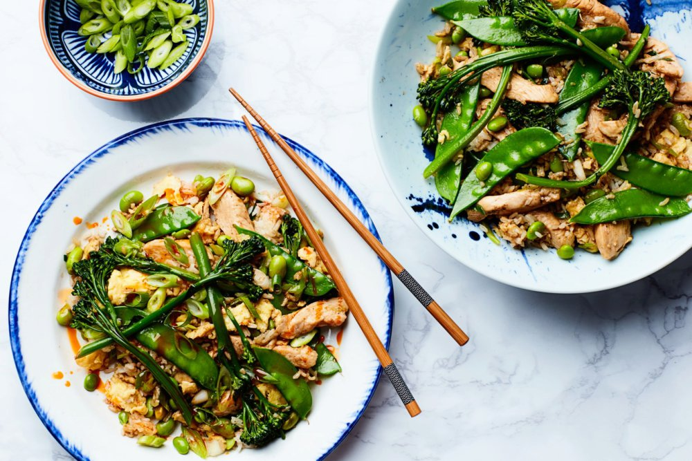 Easy Fried Rice with Chicken and Broccolini