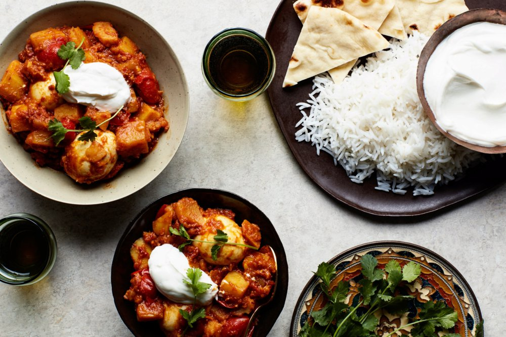 Egg Curry with Tomatoes and Cilantro