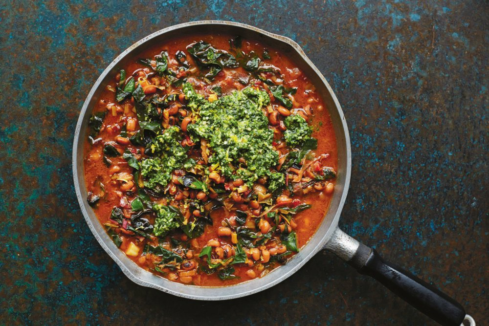 Black-Eyed Peas With Chard and Green Herb Smash