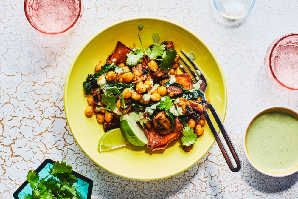 Stuffed Sweet Potatoes with Curried Chickpeas and Mushrooms