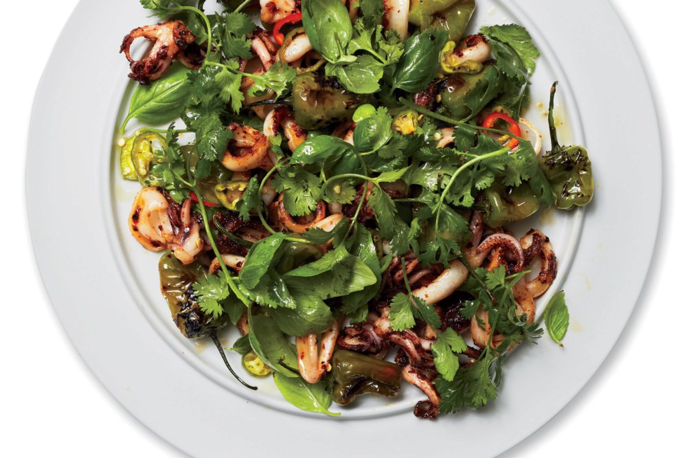 Charred Padrón Chiles and Squid Salad