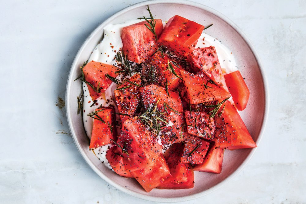 Watermelon With Yogurt, Poppy Seeds, and Fried Rosemary