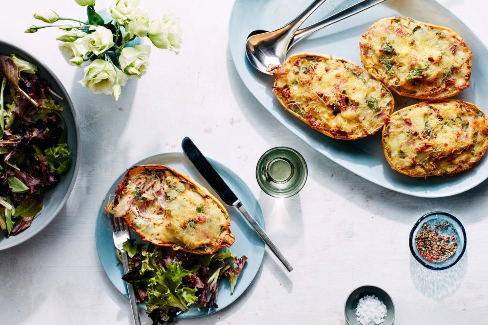 Cheesy Baked Spaghetti Squash Boats with Salami, Sun-Dried Tomatoes, and Spinach