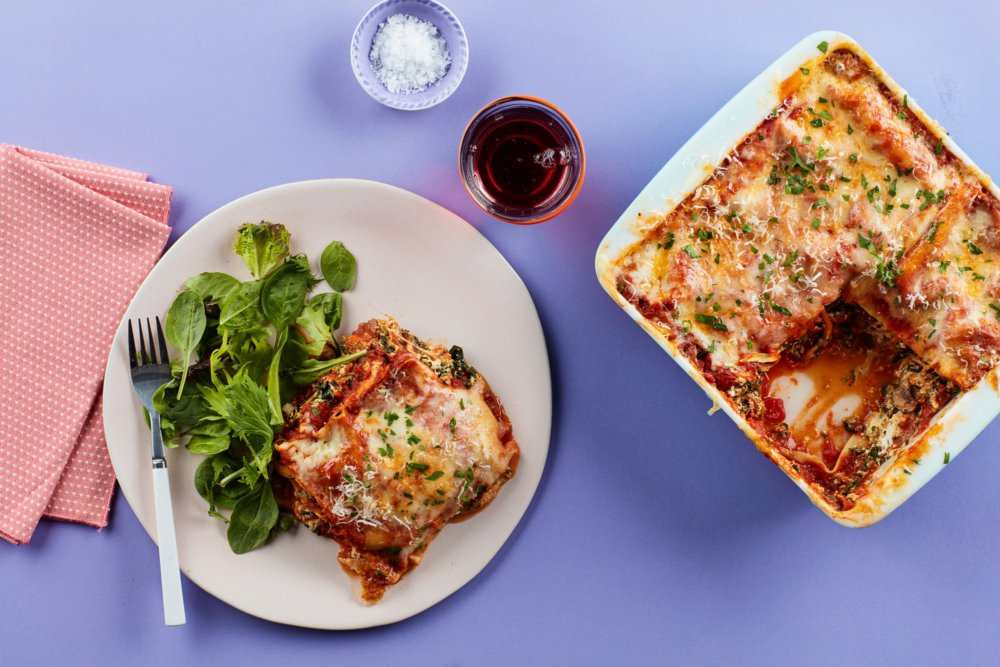 Microwave Lasagna With Spinach, Mushrooms, and Three Cheeses