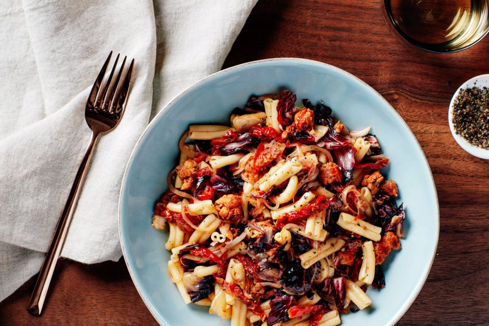 Pasta with Spicy Sausage, Radicchio, and Sun-Dried Tomatoes