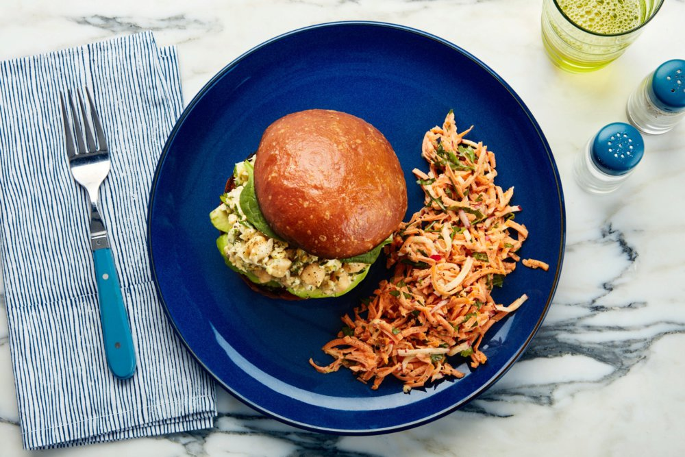 Chickpea Salad Sandwich with Creamy Carrot-Radish Slaw