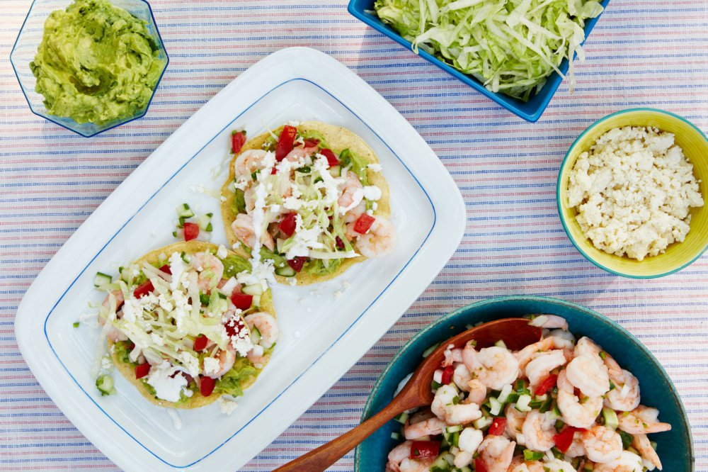 Shrimp-Salad Tostadas with Tomatoes and Cucumber