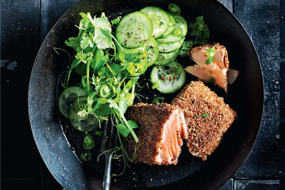 Dukkah-Crusted Salmon With Cucumber and Chile Salad