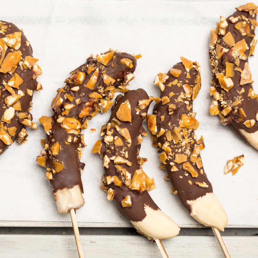 Frozen Chocolate-Dipped Bananas with Peanut Brittle