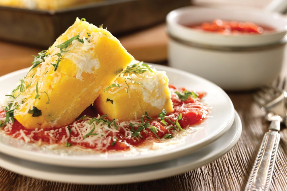 Baked Polenta with Tomato Sauce and Ricotta