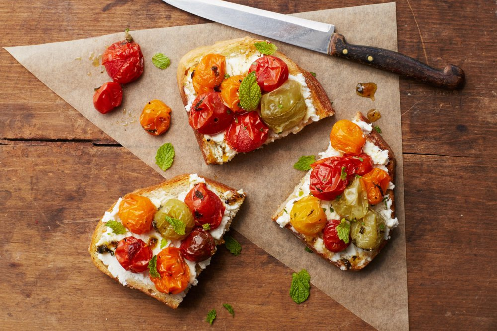 Maple-Roasted Tomato Toast with Goat Cheese and Mint
