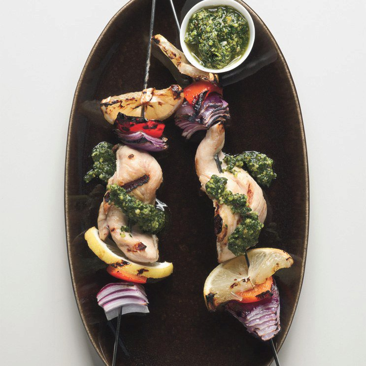 Chicken Skewers with Tarragon-Pistachio Pesto