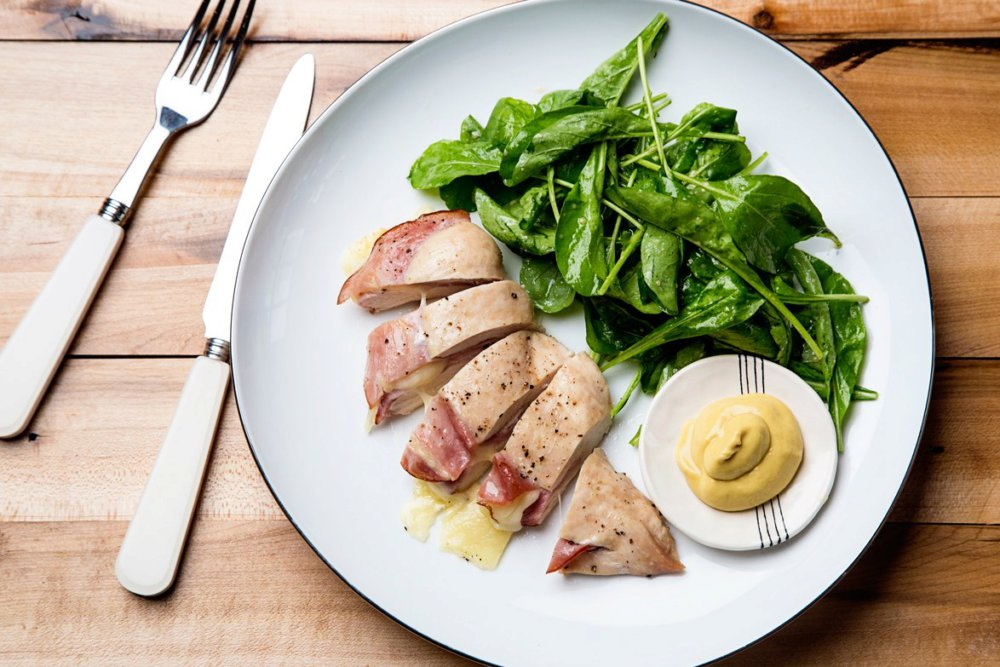 3-Ingredient Chicken Breasts Stuffed with Ham and Cheese