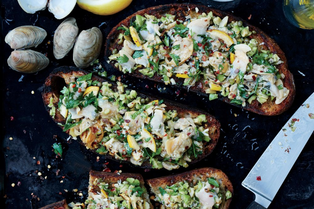 Grilled Clam Toasts With Lemon and Green Olives