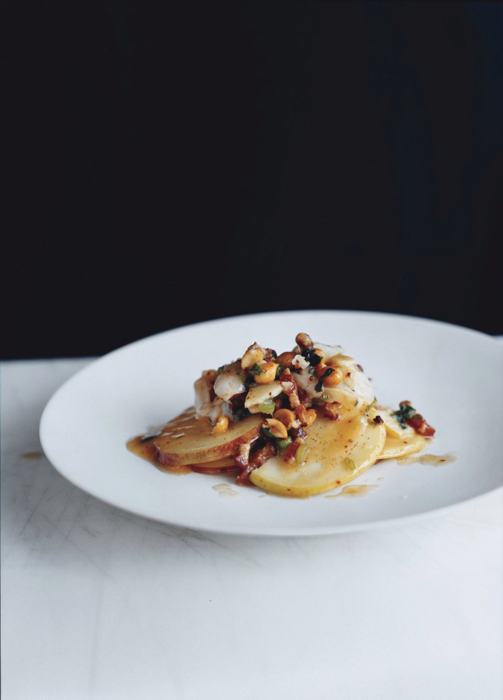 Apple and Smoked-Bacon Salad with Lychees and Chili Nuts