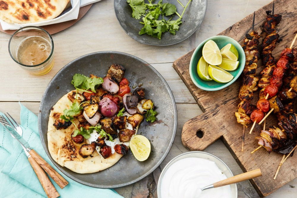 Indian-Spiced Chicken, Eggplant, and Tomato Skewers