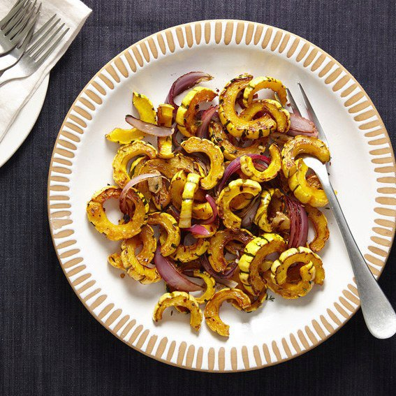 Maple-Roasted Delicata Squash with Red Onion