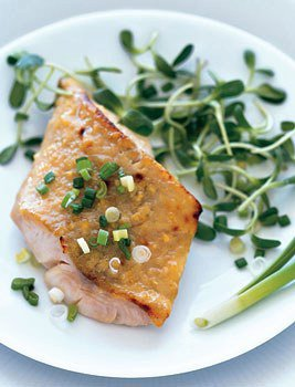 Miso-Glazed Black Cod on Sunflower Sprouts