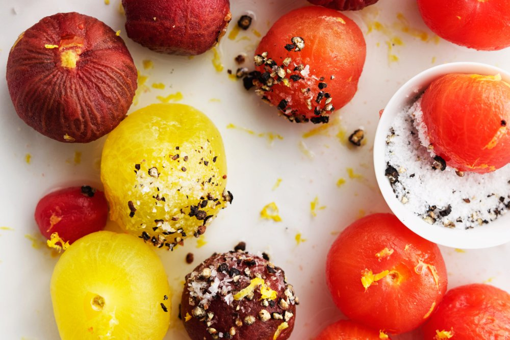 Vodka-Spiked Cherry Tomatoes with Pepper Salt