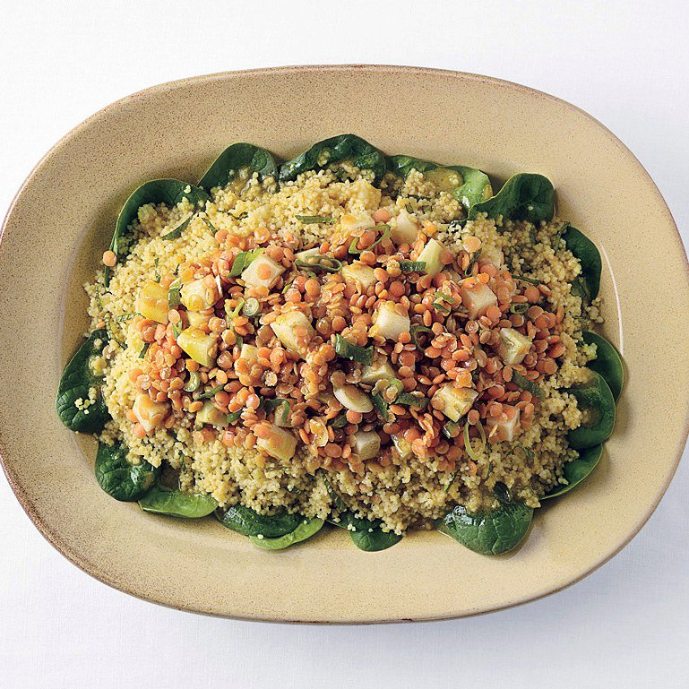 Curried Red Lentil Kohlrabi, and Couscous Salad