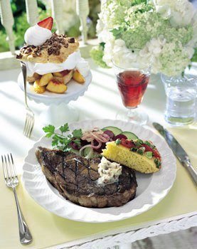 Hickory-Grilled Rib-Eye Steaks with Bacon-Molasses Butter