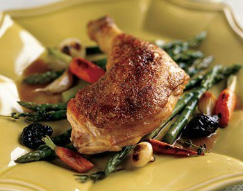 Chicken in Riesling with Prunes and Cabbage