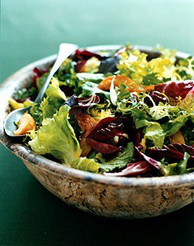Bitter Green Salad with Roasted Pears