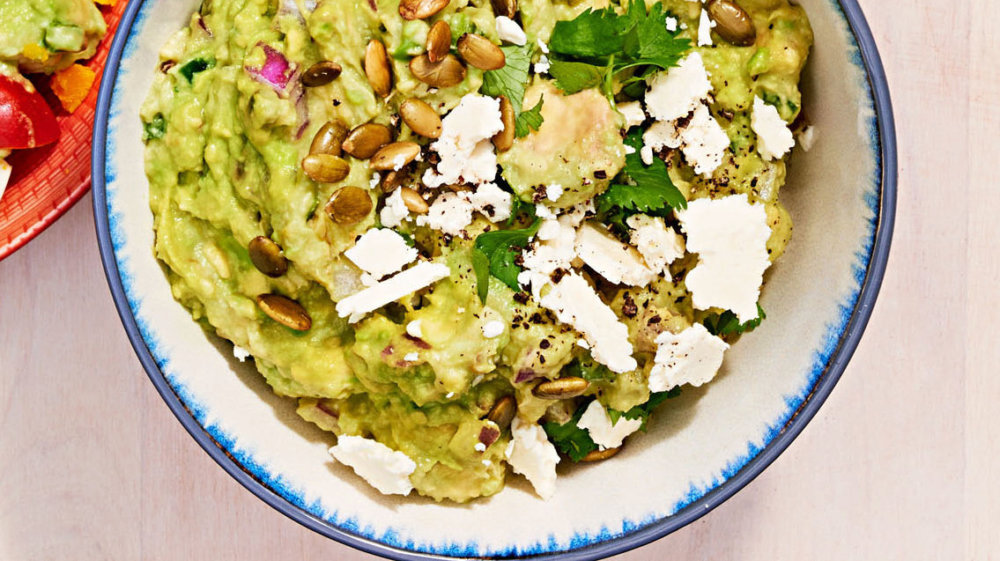 Guacamole with Toasted Pepitas and Cotija Cheese