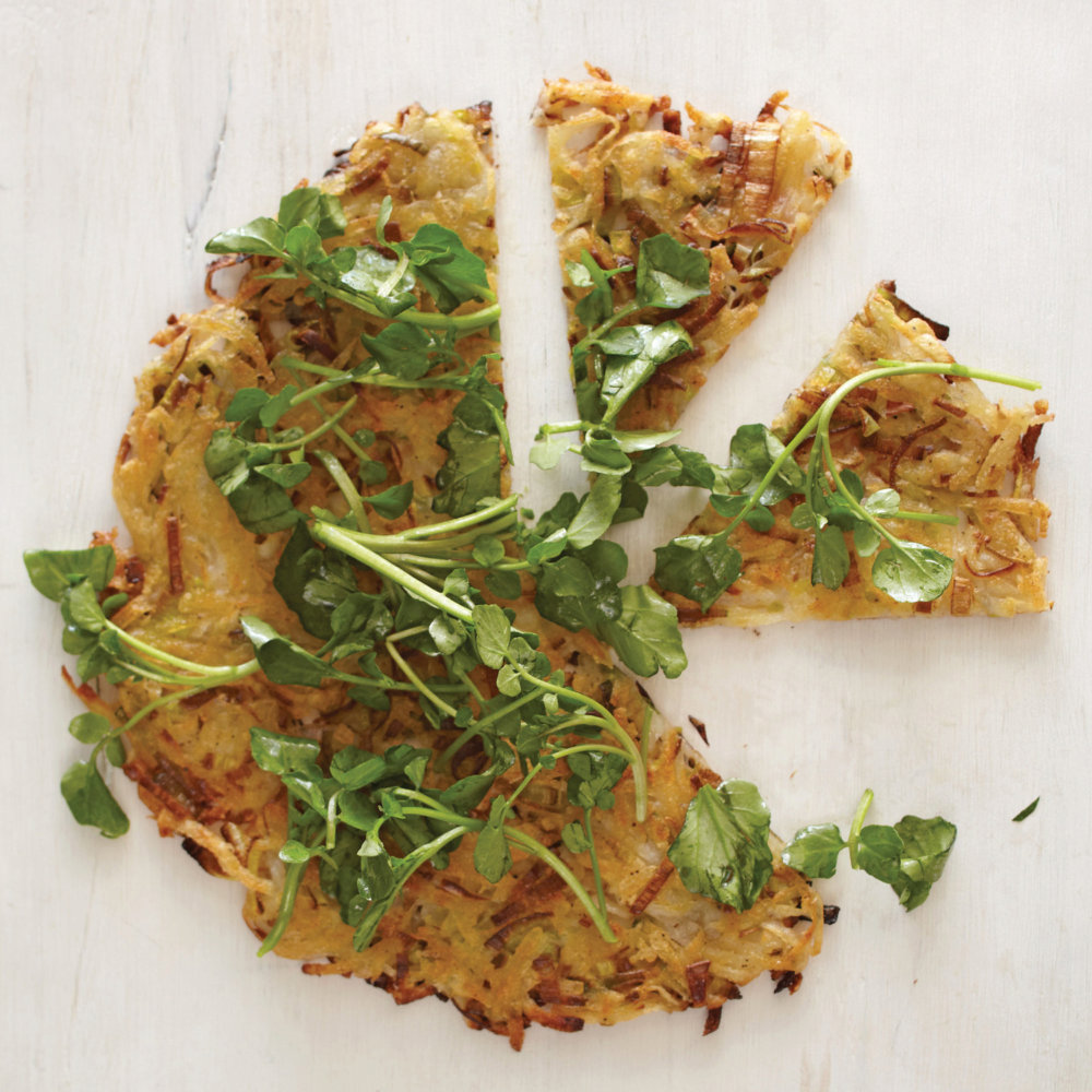 Potato and Leek Galette with Watercress
