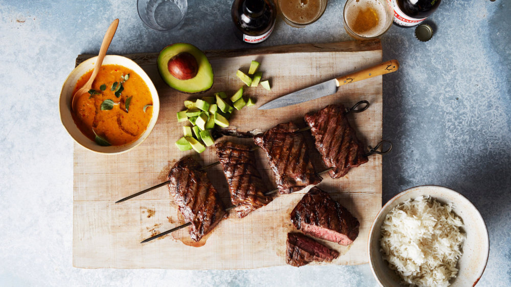 Skirt-Steak Skewers with Avocado and Pepper Sauce