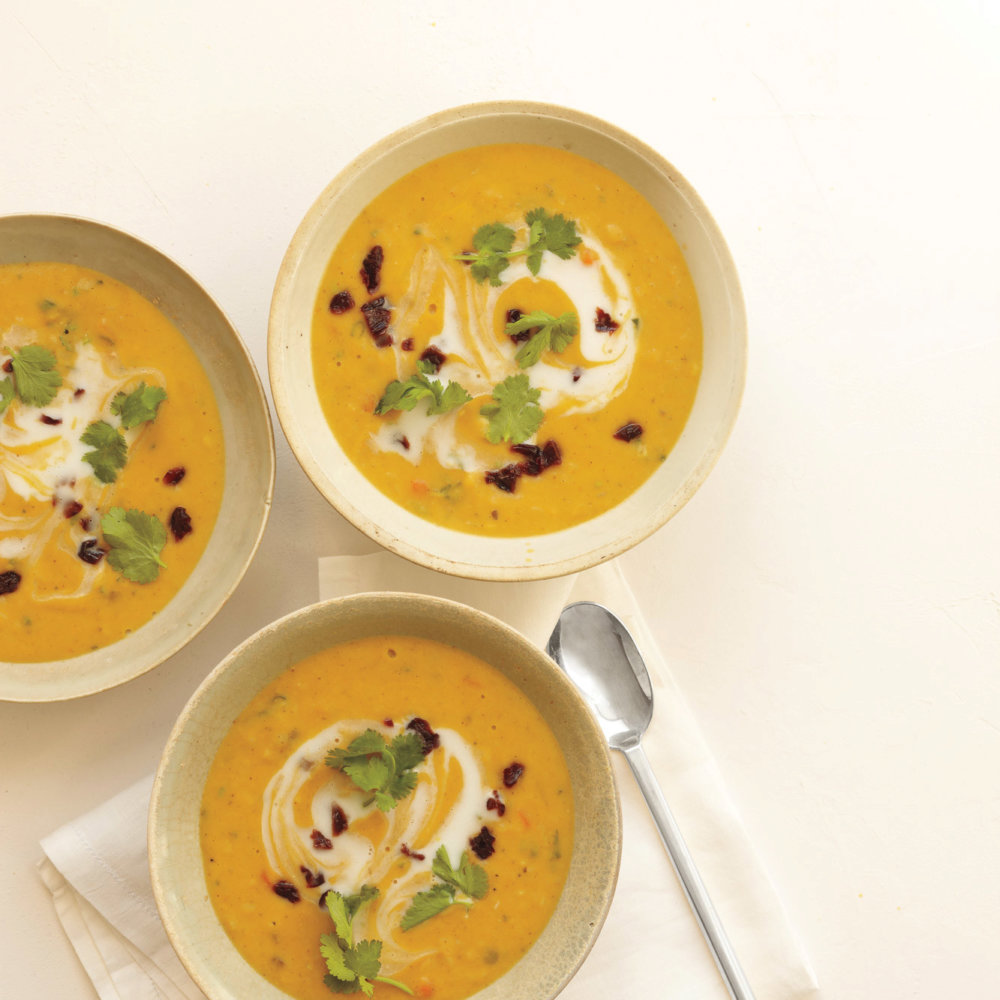 Curried Red Lentil Soup with Dried Cherries and Cilantro