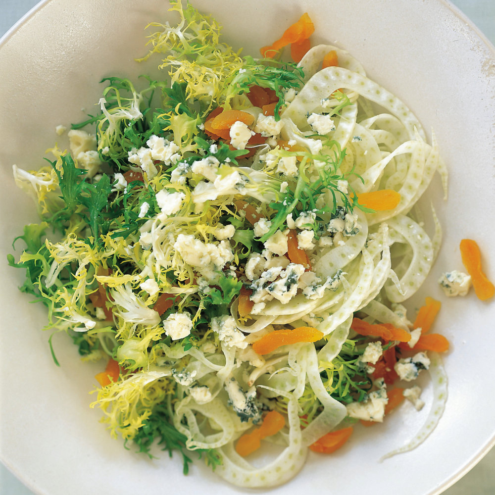 Frisee and Fennel with Dried Apricots and Crumbled Roquefort